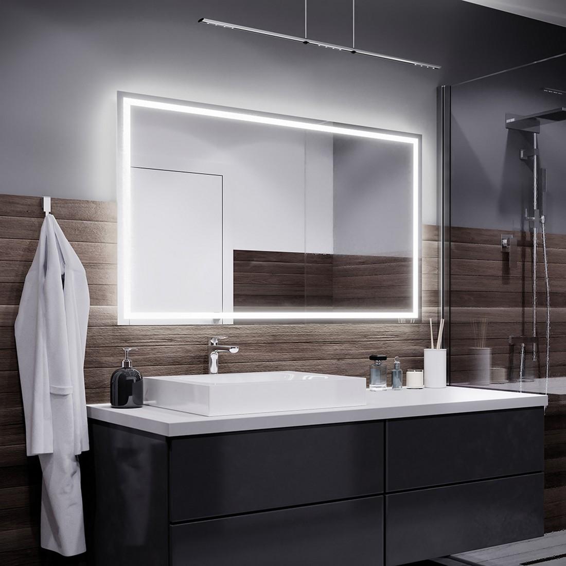 Miroir avec Interrupteur Tactile et Station M/ét/éo Mod/èle P1 Alasta/® Miroir LED Lumineux 50x50 cm Oslo Mod/èle
